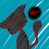 sillyblackcat: A drawing of a black cat with red lines and a blue background. (Default)