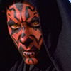 morgynleri: darth maul in bright light with his hood up, three-quarter view of his face (maul)