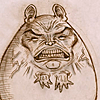 outlineofash: Drawing of a chinchilla with a scary human face grimacing at the viewer. (Artwork - WHAT IS IT)