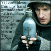 apollymi: Carl holding bottle of holy water, text from Monty Python & the Holy Grail (VH**Carl: Holy hand grenade)