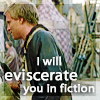 "apollymi: Chaucer looking annoyed, text reads ""I will eviscerate you in fiction"" (AKT**Chaucer: Eviscerate you in fiction)"