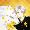 amihan: natsume takashi dressed in black with self-appointed guardian madara, natsume holds yellow flowers ([natsume yuujinchou] natsume and madara)