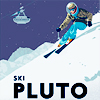 sasha_feather: Retro-style poster of skier on pluto.   (city scape)
