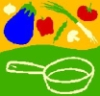 eclecticfoods: skillet with food being tossed up ( cartoon version) (eclceticfoods)
