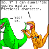 meelie: (dino comics-mad at a fictional character)