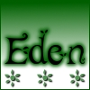 """eden: text """"Eden"""" in black, with dark green glow on a green to white gradient. (eden)"""