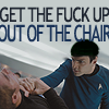 darth_snarky: Spock politely requests Kirk leave the chair (Out of the chair)