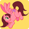renay: Pink pony with brown hair and wings on a yellow background bucking hind legs in the air. (Default)