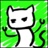 kat481: Drawing of a cat, with robot arms and a bright green background (cat)