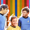 sarken: spock, kirk, and mccoy on a striped background ([star trek] kick it old school)