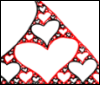 azurelunatic: part of a triangle filled with alternately black and red hearts, increasingly smaller in a sierpinski triangle pattern (matesprit)