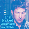 """fashes: John Sheppard making a single eyebrow, with text reading""""I'm Naked underneath my clothes."""" (Naked (under his clothes) ~ courtknee)"""
