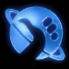 azurelunatic: A glowing blue planet with the outline of a fist with thumb extended to hitchhike. H2G2 logo. (fist, Hitchhiker's Guide to the Galaxy)