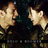 sabaceanbabe: (Helo and Boomer laughing)