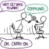 triadruid: Two stick figures from the webcomic XKCD, fighting with swords while they are supposed to be coding (compiling)