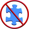 Blue Puzzle Piece (symbol commonly used by Autism Speaks and other Autism groups) inside a red circle with a diagonal line through it, indicating a rejection of the puzzle piece symbol.  I am not a puzzle