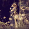 albijuli: Fang and Vanille hugging in a meadow. (Together)