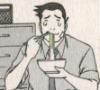 inevitableentresol: Gumshoe eating noodles, b/w manga (Gumshoe eating noodles)