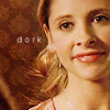 "frayadjacent: Buffy with a goofy look on her face, text says ""dork"" (BtVS: Buffy dork)"