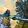 istia: winter scene of tree reflected in a stream (Default)