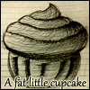 "flikky: A sketch of a cupcake bursting from its holder with super-imposed text that reads: ""A fat little cupcake."" (Default)"