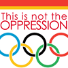 plural_intersections: An icon reading, 'This is not the Oppression Olympics', with the word 'Olympics' being represented with Olympic rings. (Oppression Olympics.)