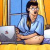 thefourthvine: Girl in pajamas with laptop. (I sleep with computers.)