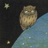 thefourthvine: A drawing of a wary-looking owl.  (Suspicious owl)