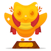 polyglotting: image of the DuoLingo 'trophy' for completing a course. (DuoLingo: Spanish Trophy)