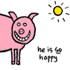 "thefourthvine: A beaming pig with the text ""He is SO happy."" (Happypig)"