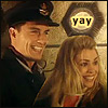 "thefourthvine: Jack Harkness and Rose looking happy. Text: ""Yay!"" (Yay!)"