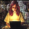labellementeuse: dairine callahan with her laptop from an old cover of High Wizardry (yw geek chic(k))