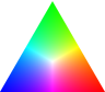 pne: A triangle with pure red, green, blue at the vertices, shading towards pure white in the middle (Maxwell colour triangle)