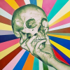 properfalse: Illustration of a female hand holding a skull, with stripes of color radiating out. (Default)