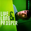 "green: image of TOS Spock with text ""Live Long & Prosper"" (trek: LLAP)"