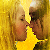 monanotlisa: Clarke and Lexa just after their kiss, closeup, in front of a yellow background -- eyes closed, tender (clexa - the 100)