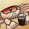 pauamma: Cartooney crab holding drink (Default)