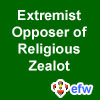 "pauamma: EFW Extremist Opposer of Religious Zealot - white on green (""EFW Opposer of zealot - white on green"")"