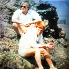 turlough: Turlough & the Doctor perched on a rock, behind the scenes of the Fifth Doctor adventure 'Planet of Fire' ((dr who) original otp)