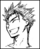 pokechan: CLAMP sketch of Kurogane laughing (TRC)