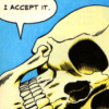 seasnakes: a comic-style drawing of a skull saying 'I accept it' (accepting skull)