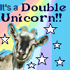 capriuni: A horned goat with rainbow & stars--caption: It's a Double Unicorn (double unicorn)