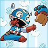cashew: Baby!Cap chasing after Bucky Bear (A-babies vs. X-babies // Starbuck)