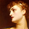 antigone: artwork of Antigone by Frederic Leighton. She has curly red hair and pale skin. (postoedipal)