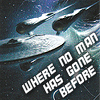 slash4femme: the Enterprise against a dark blue background with stars in front of the ship is the words where no man has gone before (star trek: where no man has gone before)