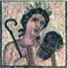 capri0mni: Thalia, from a Roman mosaic, carrying a comic mask and shepherd's crook (Thalia)