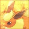 alphathirteen: picture of the pokemon Flareon on an orange bg (flareon, pokemon)