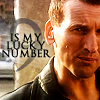 """mergatrude: Ninth Doctor with the text """"9 is my lucky number"""" (dr who - lucky number)"""