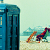 mergatrude: Fourth Doctor relaxing in a deck chair next to the TARDIS (dr who - tardis holiday)