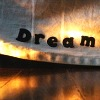 "shameless2shoes: The word ""Dream"" on the edge of shinny metal plate on a table (""Dream"" plate)"